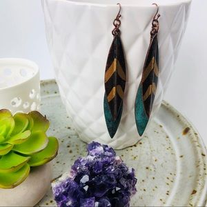 Bohemian Feather Shaped Copper Texture Earrings